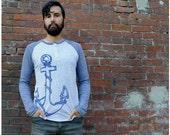 SALE - Girl in Every Port - unisex tshirt - MEDIUM - nautical anchor screen print on long sleeved raglan henley t shirt