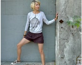SALE - One That Got Away - spring fashion - womens SMALL - birdcage screenprint on Alternative Apparel heather oatmeal pullover