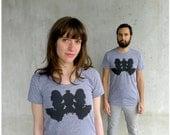 Womens tshirt - fall fashion - S/M/L/Xl - howling wolf inkblot on American Apparel heather gray track tees - Wolf Like Me