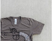 SALE - Sure Shot - mens tshirt - antique pistol print in black and white on heather brown track tees - size XL - gift for him