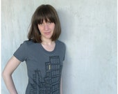 SALE - womens t shirt / ladies top - city skyline in black and yellow on asphalt gray tees - urban fashion - Don't Wait Up