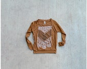 The Nomad - womens pullover - S/L/XL - tribal arrows and lace chest plate design on rust orange raglans - boho fashion