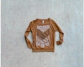The Nomad - tribal womens top - raglan pullover - chest plate design on rust orange - boho fashion - womens jersey pullover - CLOSEOUT