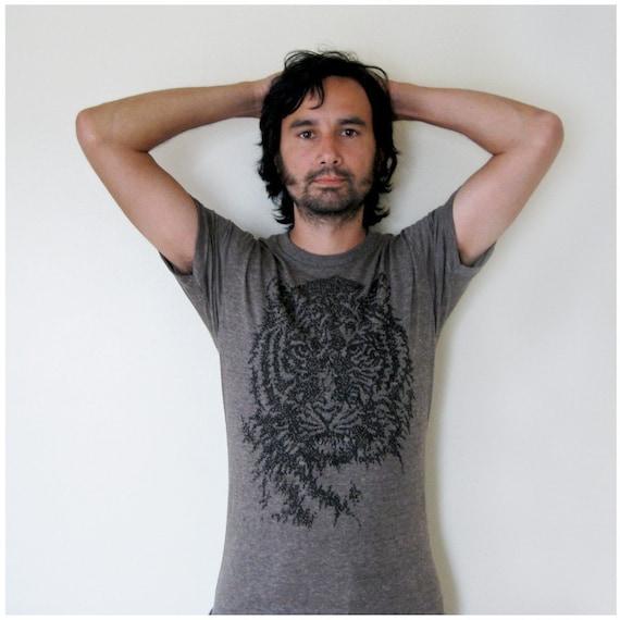 SALE - Easy, Tiger T-shirt - men's medium - tiger print in black on heather brown