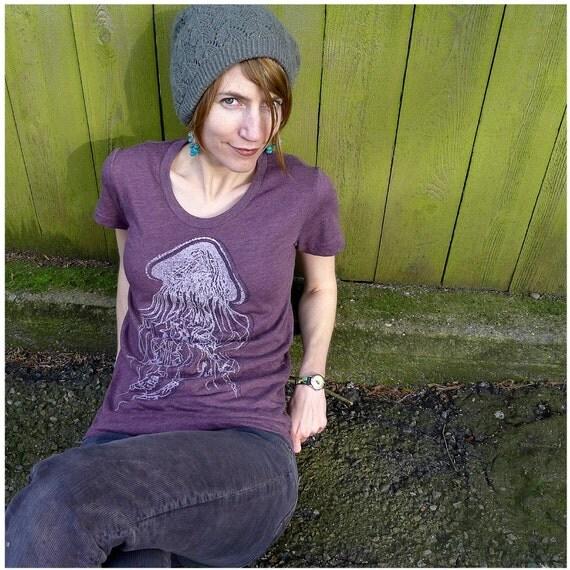 Grape Jelly - womens t shirt - SMALL - nautical jellyfish screenprint on American Apparel heather plum tshirt