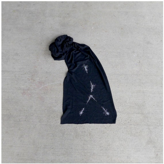 Cancer Zodiac Scarf. Unisex jersey scarf for men or women. Cancer constellation screenprint. Zodiac gift by Blackbird Tees
