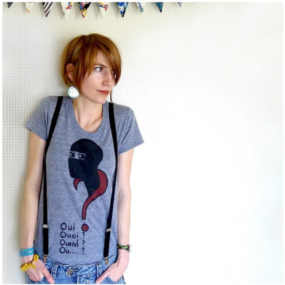 SALE - To Catch a Thief - womens tshirt - XL - Les Vampires screenprint on American Apparel heather gray track tees