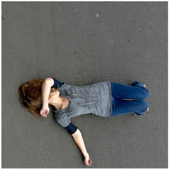 SALE - womens v-neck tunic - gray - MEDIUM - city screenprint on Alternative Apparel heather burnout tee in ash gray - Don't Wait Up