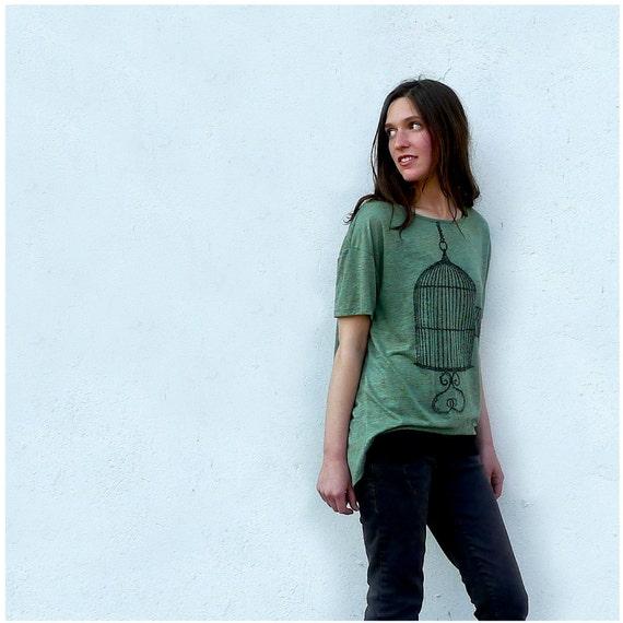 One That Got Away - spring fashion - womens t shirt - MEDIUM - birdcage print on Alternative Apparel heather moss pony tees