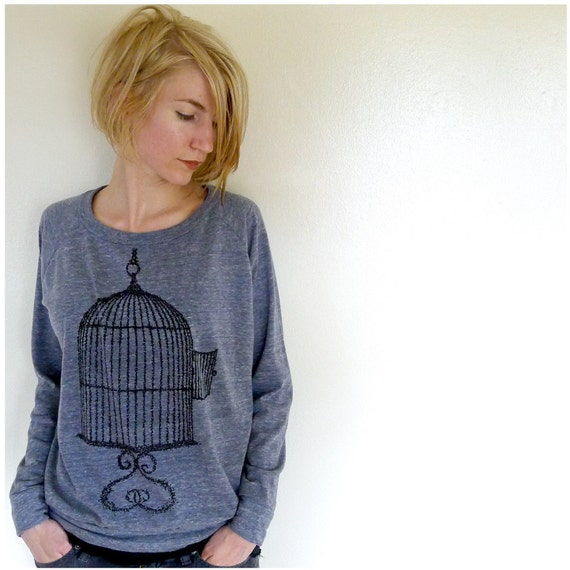 One That Got Away Pullover - winter fashion - womens XL - birdcage screenprint on Alternative Apparel eco navy