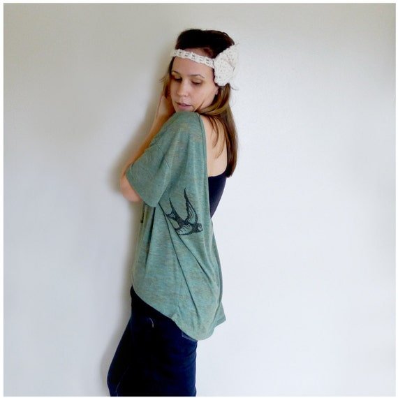 One That Got Away - womens t shirt - MEDIUM - birdcage print on Alternative Apparel heather moss pony tees