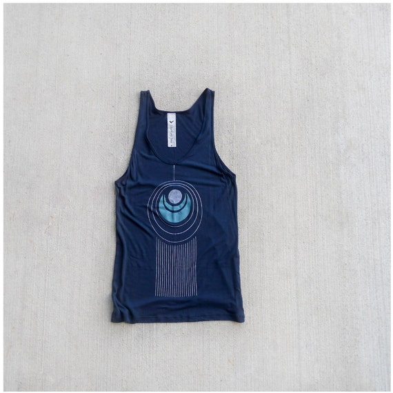 Ladies tank top - summer fashion - oversized viscose tank - art deco peacock feather on American Apparel navy blue - TAIL FEATHER