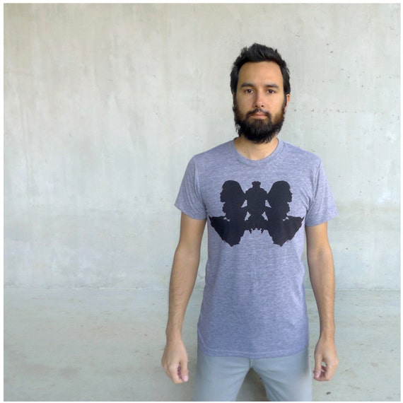 Wolf Like Me - tshirt for men - fall fashion - wolf inkblot screenprint on American Apparel heather gray track tees - S/M/L/Xl