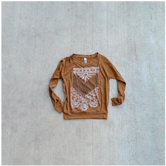 Womens pullover - boho fashion - S/M/L/XL - tribal chest plate design on rust orange raglans - THE NOMAD