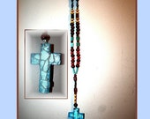Mosiac SeaglassWood Cross with beaded chain