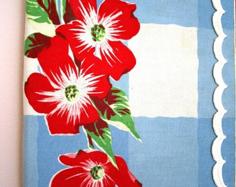 Wall Hanging Art Vintage Fabric Red Blue White Green Floral Vintage Trim