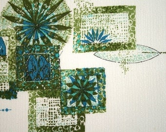 Wall Hanging Mid Century Mod Vintage Fabric Blue Green Color Blocking
