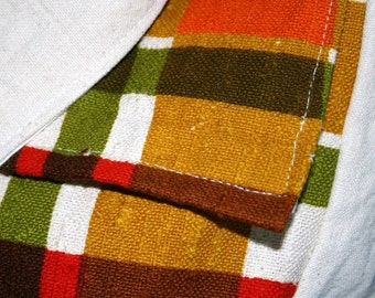 Messenger Bag Vintage Fabric Plaid Orange Olive Green Red OOAK