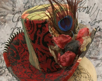 patchwork peacock feather miniature hobo tophat