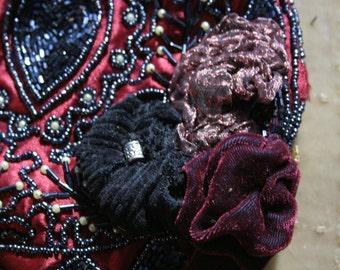 OOAK hand beaded garnet satin flapper purse