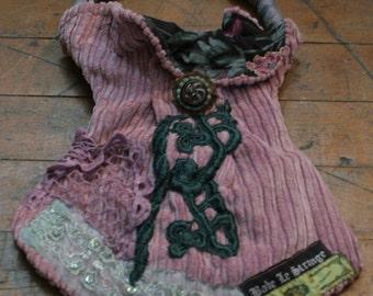 OOAK  dusty rose crested emblem purse
