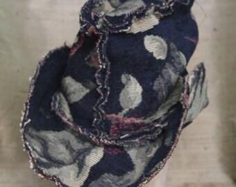 black floral tapestry hat