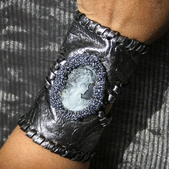 OOAK gunmetal leather cameo cuff