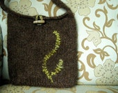Chocolate Brown Wool Fern Moss Bag - knit and lined