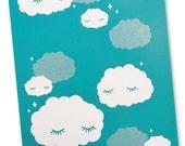 Sleepy Clouds Art Print 8 x 10