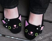 Cat Shoes - Black Happy Kitty Mary Janes - Adult Size 8