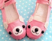 Bear Shoes - Pink Happy Animal Mary Janes - Adult Size 5