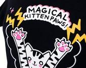 Womens Cat T-Shirt - MAGICAL Kitten Paws Ladies Shirt - Size Medium