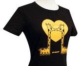 Giraffe T-Shirt - Giraffes in LOVE Brown Shirt - Available in Ladies sizes S, M, L, XL