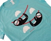 Ladies Sloth Shirt - Cute Sloths Aque Blue Shirt - (Available in Ladies sizes S, M, L, XL) - emandsprout