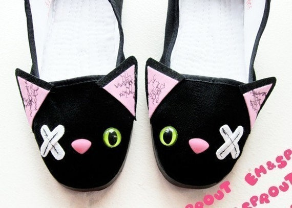 Zombie Cat Shoes - Undead Kitty Mary Janes - (Sizes 5, 6, 7, 8, 9, 10 and 11)