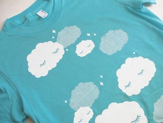 Cloud T-Shirt - Sleepy Clouds AQUA Shirt - Ladies Size Small