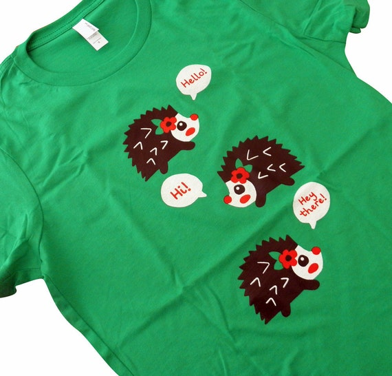 Hedgehog T-Shirt - HELLO Hedgehog Green Shirt - Available in Ladies sizes S, M, L, XL