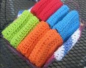 Crochet WashCloths, DishCloths, Spa Cloths,  Eco Friendly and Green - Set of 8 Red Blue Green Orange