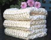 Cream Organic Washcloth Dishcloth Cotton Handmade Spa Cloth Face Wash- 3 -Featured on ETSY's Front Page, dish cloth, dish rag, baby wash