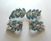 Vintage Rhinestone Brooch Earrings Designer Dobbs Blue Rhinestone Wedding