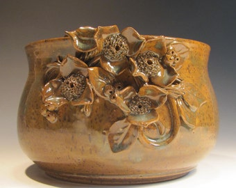 Pottery Bowl, Brown Pot with Flowers