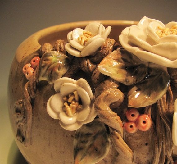 Pottery bowl, White flowers and Pale Orange Berries