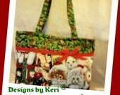 Designs by Keri cute as can be Christmas kittens kitties toddler youth girls tiny tote bag purse