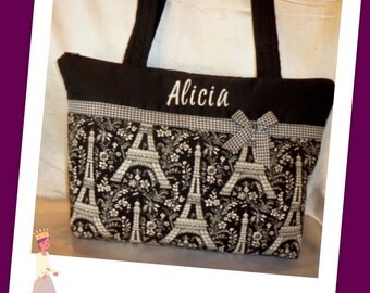 Eiffel Tower Paris Toile SALE 16% off choose from 4 fabric choices 3 sizes handbag tote purse great for all ages add a name Designs by Keri