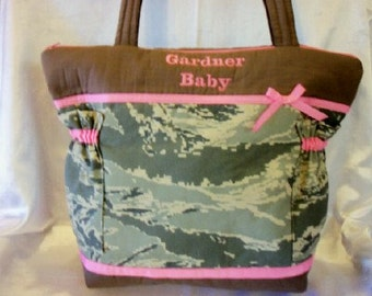 Military camo Choose Air Force Marine Army Navy Diaper bag tote bag purse unisex baby shower nappy bag Great for Dad's diaper bag too