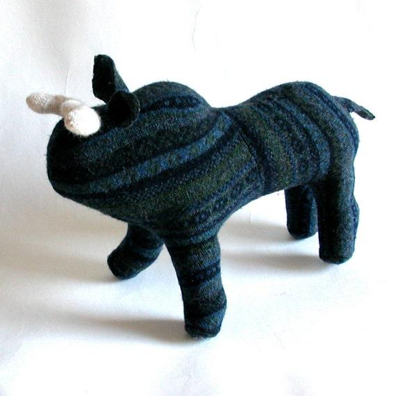 A Navy Blue Striped Ox ala Paul Bunyon