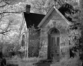 gothic stone house black white spooky moody architecture  8x10 - Hazen Library