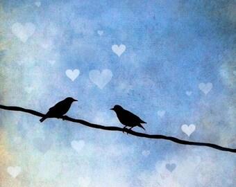 Love Birds Art Print, Birds on a Line, Lovers, Valentine's Day Gift, Nature, Blue Sky, Home Decor, Romance, Couple, Hearts - Love Birds