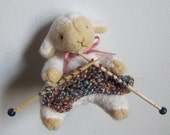 Miniature Knitting Sheep Magnet