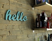 HELLO recycled wooden sign